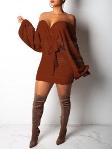 Brown Sashes Bright Wire Off Shoulder Sparkly Lantern Sleeve Knit Party Mini Dress