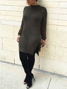 Army Green Lace-up Long Sleeve Round Neck Casual Sweater Midi Dress