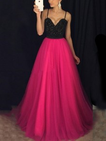 Rose Carmine Patchwork Grenadine Sequin Spaghetti Strap Backless Sparkly Glitter Prom Evening Party Maxi Dress