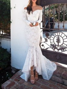 White Draped Lace Zipper Irregular Off Shoulder Mermaid Long Sleeve Elegant Maxi Dress