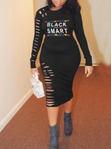 """Black """"BLACK AND SMART"""" Cut Out Distressed Bodycon Long Sleeve Round Neck Casual Maxi Dress"""