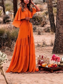 Orange Ruffle Pleated Belt Bohemian Beachwear Boho Party Maxi Summer Dress