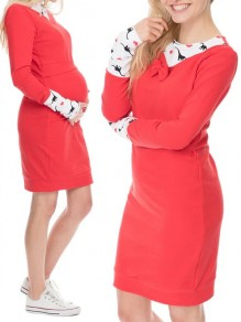 Red Flowers Print Bow Round Neck Long Sleeve Casual Maternity Mini Dress