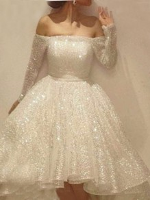 White Patchwork Sequin Pleated Off Shoulder Long Sleeve Tutu Midi Dress