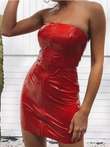 Red Zipper Bandeau Off Shoulder Patent Leather Backless Latex Bodycon Clubwear Mini Dress