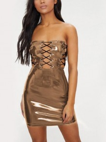 Brown Irregular Off Shoulder Slit Lace-up Patent Leather Latex Bodycon Clubwear Mini Dress