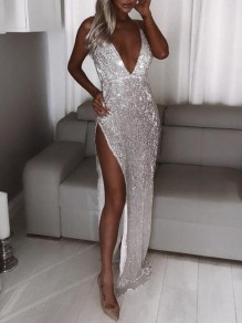 Silver Sequin Glitter Spaghetti Strap Diamond Sparkly Slit Birthday Party Maxi Dress