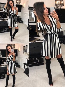Black Patchwork Belt Elbow Sleeve Deep V-neck Fashion Midi Dress