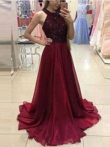 Wine Red Patchwork Sequin Backless Draped Round Neck Sleeveless Elegant Maxi Dress
