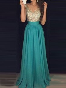 Green Patchwork Sequin Grenadine Draped Round Neck Sleeveless Elegant Maxi Dress