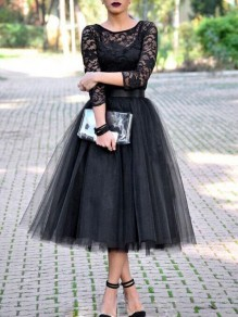 Black Patchwork Lace Grenadine Draped Round Neck Three Quarter Length Sleeve Elegant Midi Dress