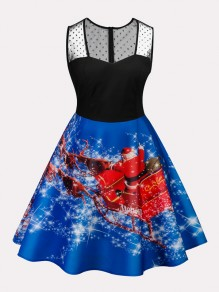 Blue Christmas Print Lace Zipper Square Neck Sleeveless Midi Dress