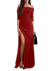 Red Slit Off Shoulder 3/4 Sleeve Elegant Maxi Dress