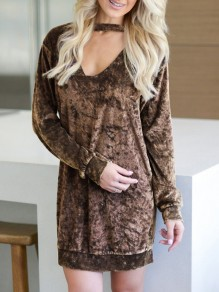 Coffee V-neck Long Sleeve Casual Mini Dress