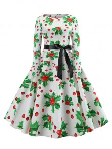 White Floral Bow Pleated Round Neck Long Sleeve Christmas Midi Dress