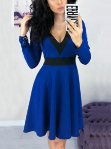 Blue Black Patchwork Buttons Draped V-neck Long Sleeve Midi Dress