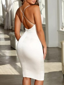 White Cross Back Spaghetti Strap Homecoming Party V-neck Cute Midi Dress