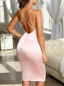 Pink Cross Back Spaghetti Strap Homecoming Party V-neck Cute Midi Dress