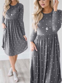 Grey Polka Dot Print Draped Round Neck Long Sleeve Midi Dress