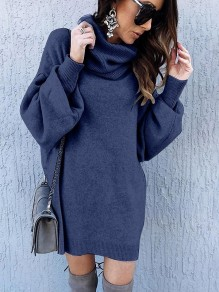 Navy Blue Patchwork High Neck Lantern Sleeve Fashion Knit Mini Dress
