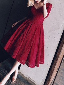 Wine Red Backless Lace Pleated Draped V-neck Elbow Sleeve Elegant Wedding Gowns Prom Midi Dress