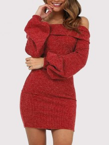 Red Off Shoulder Lantern Sleeve Bodycon Cocktail Party Mini Dress