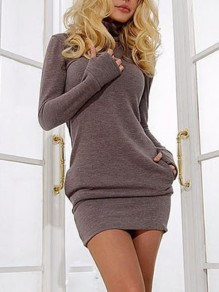 Coffee Pockets High Neck Long Sleeve Fashion Mini Dress