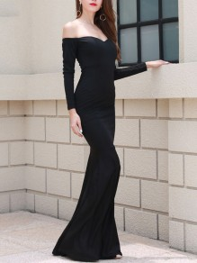 Black Bandeau Hip Bodycon Off Shoulder Long Sleeve Elegant