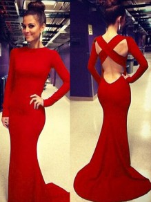 Red Backless Draped Cut Out Cross Back Round Neck Long Sleeve Elegant Maxi Dress
