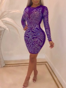 Purple Patchwork Rhinestone Bodycon Long Sleeve Round Neck Sparkly Glitter Birthday Party Mini Dress