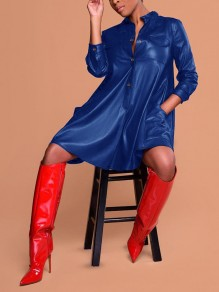 Blue Single Breasted Pockets Long Sleeve Latex Vinly Patent Rubber Casual Mini Dress