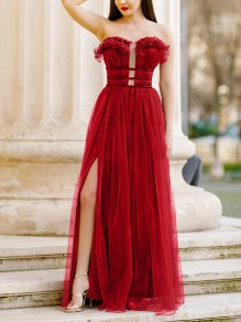 Red Plain Ruffle Cut Out Draped Grenadine Party Maxi Dress