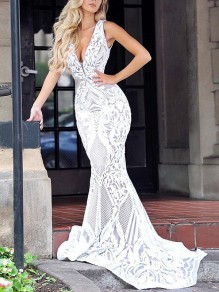 White Floral Lace Grenadine Deep V-neck Sleeveless Mermaid Wedding Elegant Maxi Dress