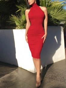 Red Plain Cut Out Backless Clubwear Party Midi Dress
