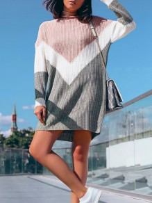 Grey Pink Patchwork High Neck Long Sleeve Casual Mini Dress