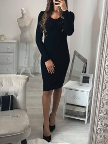 Black V-neck Long Sleeve Fashion Mini Dress
