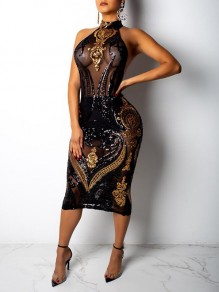 Black-Golden Geometric Sequin Glitter Grenadine Halter Neck Sparkly Sheer Birthday Party Midi Dress