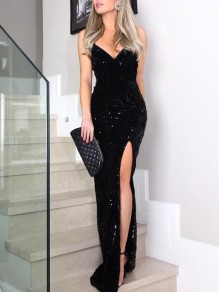 2f8dd6708a Black Sequin Glitter Irregular Spaghetti Strap Sparkly Side Slit Banquet Party  Maxi Dress