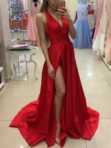 Red Backless Satin Deep V-neck Sleeveless Formal Wedding Prom Maxi Dress