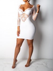 White Patchwork Grenadine Lace Cut Out Off Shoulder Sheer Bodycon Clubwear Party Mini Dress