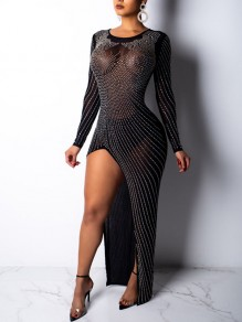 Black Grenadine Rhinestone Thigh High Side Slits Bodycon Long Sleeve Sheer Sheer Sparkly Party Maxi Dress