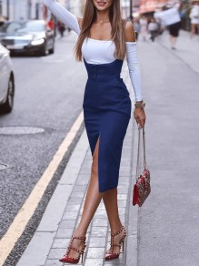Blue Pockets Straps Slit Going out Overall Midi Dress