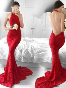 Red Floral Lace Cut Out Halter Neck Backless Mermaid Wedding Gowns Banquet Prom Floor Length Maxi Dress