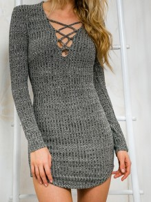 Grey Cross Irregular Cut Out Bodycon V-neck Elegant Sweater Dress
