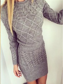 Grey Print Gingham Comfy Scoop Neck Honey Girl Sweater Dress