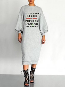 Grey Monogram Black By Popular Demand Pattern Lantern Sleeve Scuba Casual Midi Dress