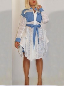 White Patchwork Denim Cascading Ruffle Pockets Belt Long Sleeve Turndown Collar Party Midi Dress