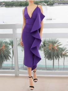 Purple Ruffle Spaghetti Strap Bodycon Deep V-neck Elegant Party Maxi Dress