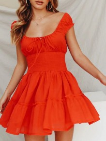 Red Ruffle Drawstring U-neck Sleeveless Going out Mini Dress