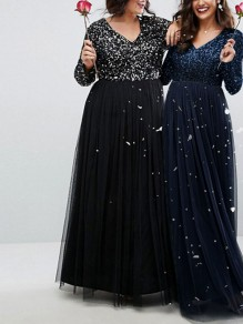 Sapphire Blue Patchwork Sequin Grenadine V-neck Long Sleeve Plus Size Sparkly Glitter Party Maxi Dress